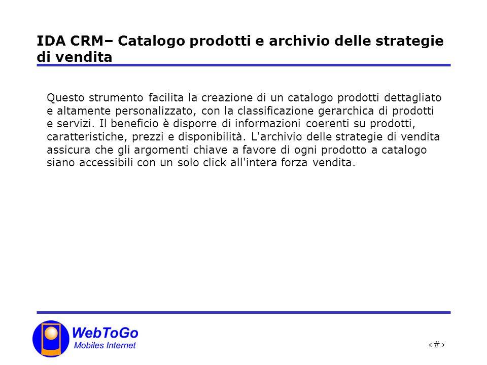 11 IDA CRM– Catalogo prodotti e archivio delle strategie di vendita Questo strumento facilita la creazione di un catalogo prodotti dettagliato e altamente personalizzato, con la classificazione gerarchica di prodotti e servizi.