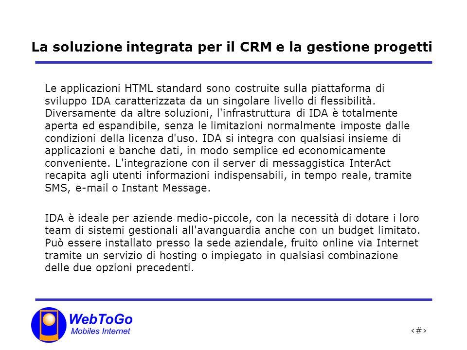 3 La soluzione integrata per il CRM e la gestione progetti Le applicazioni HTML standard sono costruite sulla piattaforma di sviluppo IDA caratterizzata da un singolare livello di flessibilità.
