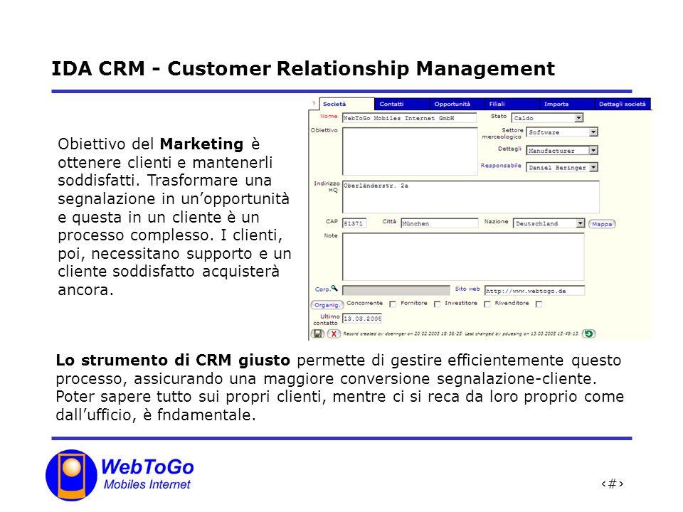 4 IDA CRM - Customer Relationship Management Lo strumento di CRM giusto permette di gestire efficientemente questo processo, assicurando una maggiore conversione segnalazione-cliente.