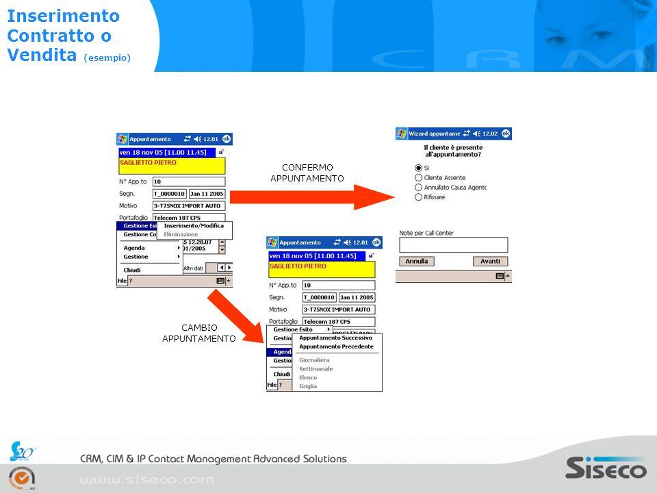 Immagine 1 Immagine 2 CAMBIO APPUNTAMENTO CONFERMO APPUNTAMENTO Inserimento Contratto o Vendita (esempio)
