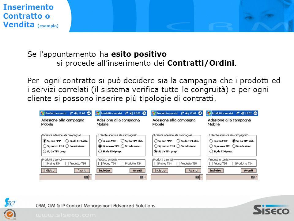 Immagine 1 Immagine 2 Se lappuntamento ha esito positivo si procede allinserimento dei Contratti/Ordini.