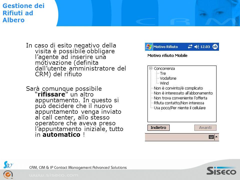 Alla fine della compilazione o appuntamento, qualunque sia stato lesito, il sistema propone la compilazione della scheda visita Gestione Scheda Visita