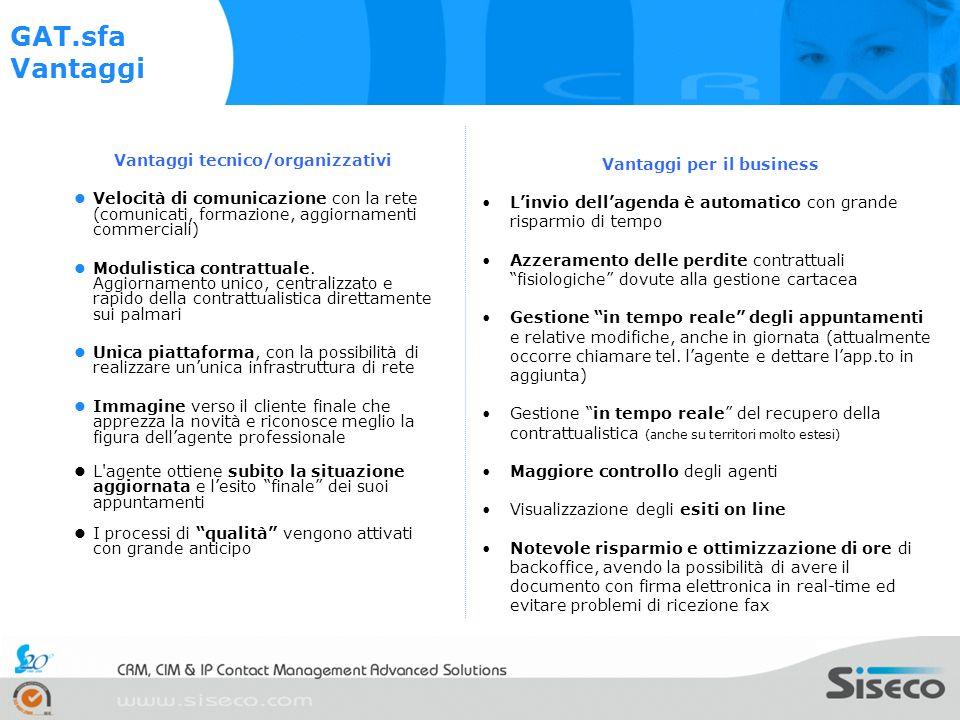 Vantaggi tecnico/organizzativi Velocità di comunicazione con la rete (comunicati, formazione, aggiornamenti commerciali) Modulistica contrattuale.