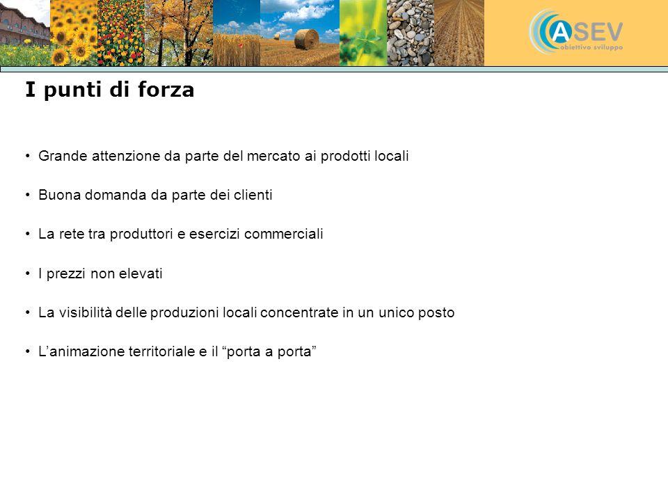I punti di forza Grande attenzione da parte del mercato ai prodotti locali Buona domanda da parte dei clienti La rete tra produttori e esercizi commer
