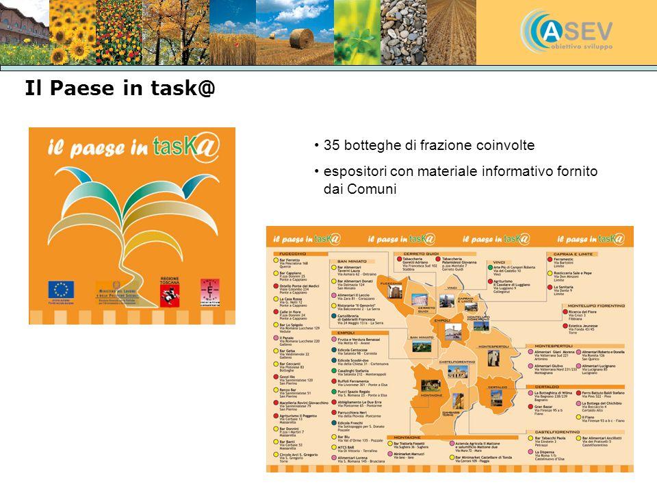 Il Paese in task@ 35 botteghe di frazione coinvolte espositori con materiale informativo fornito dai Comuni