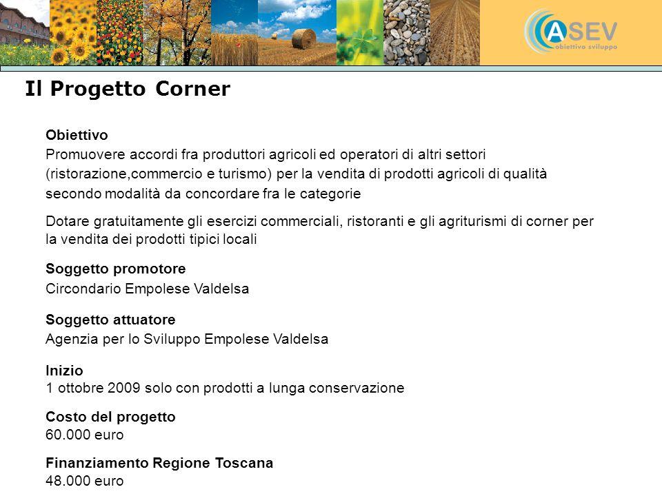 Il Progetto Corner Obiettivo Promuovere accordi fra produttori agricoli ed operatori di altri settori (ristorazione,commercio e turismo) per la vendit