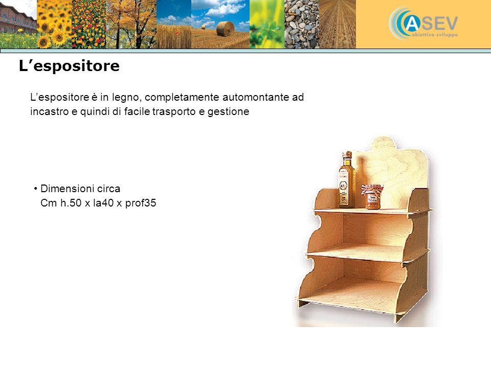 Lespositore Lespositore è in legno, completamente automontante ad incastro e quindi di facile trasporto e gestione Dimensioni circa Cm h.50 x la40 x p