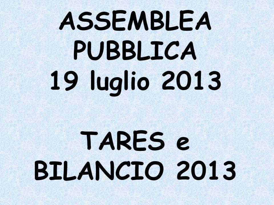 ASSEMBLEA PUBBLICA 19 luglio 2013 TARES e BILANCIO 2013