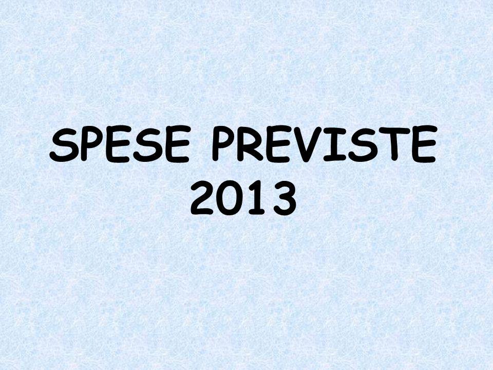 SPESE PREVISTE 2013