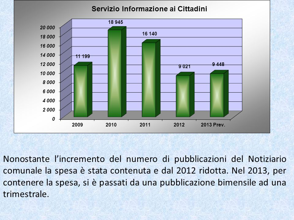 Nonostante lincremento del numero di pubblicazioni del Notiziario comunale la spesa è stata contenuta e dal 2012 ridotta.