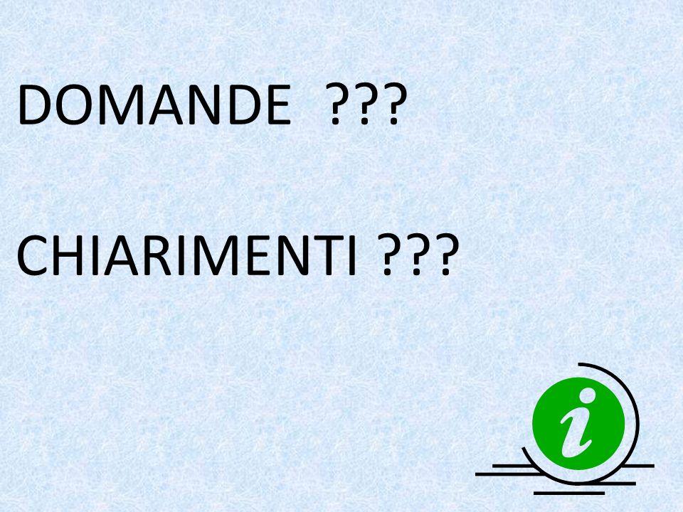 DOMANDE CHIARIMENTI