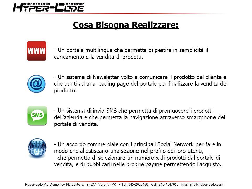 Hyper-code Via Domenico Mercante 6, 37137 Verona (VR) – Tel. 045-2020460 Cell. 349-4547966 mail. info@hyper-code.com Cosa Bisogna Realizzare: - Un por