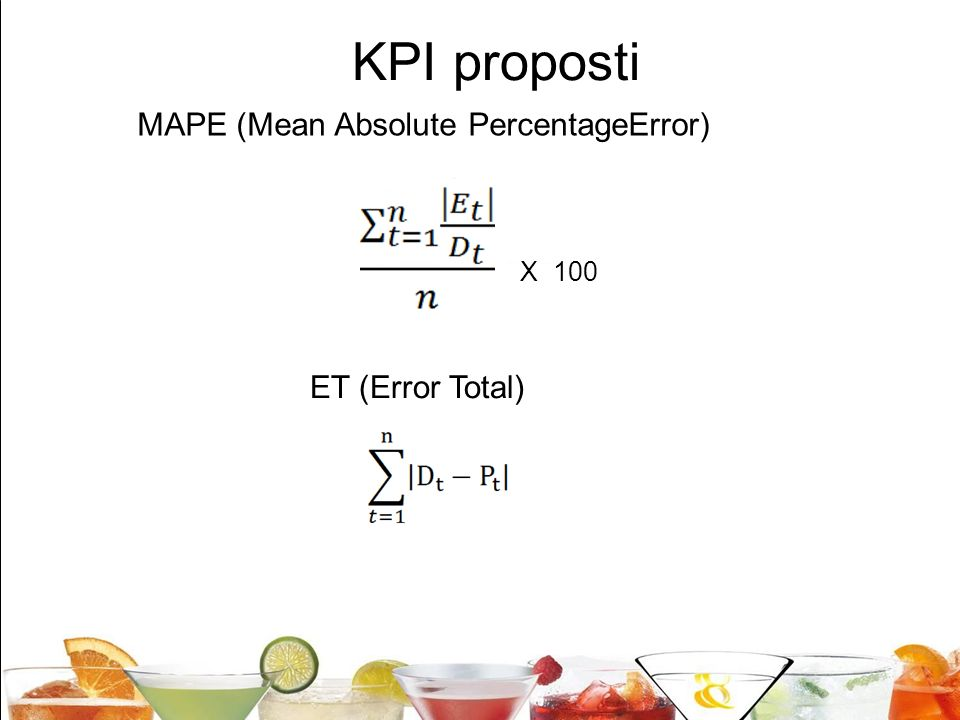 20 KPI proposti MAPE (Mean Absolute PercentageError) ET (Error Total) X 100