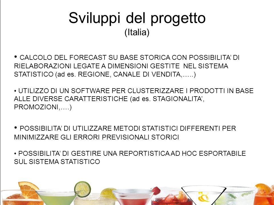 24 Sviluppi del progetto (Italia) CALCOLO DEL FORECAST SU BASE STORICA CON POSSIBILITA DI RIELABORAZIONI LEGATE A DIMENSIONI GESTITE NEL SISTEMA STATI