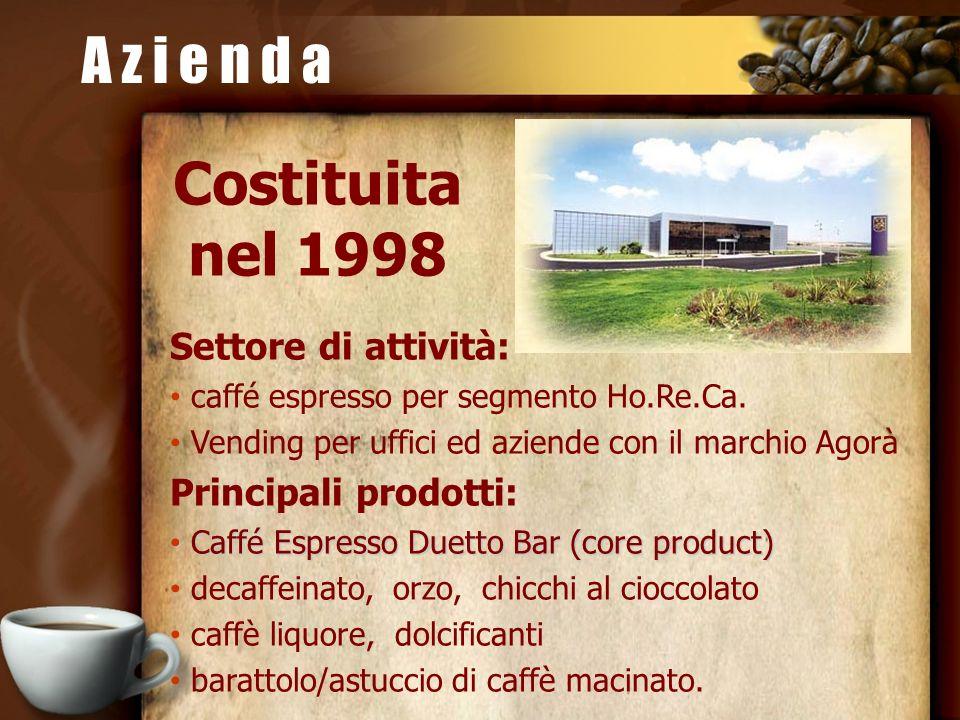 A z i e n d a Costituita nel 1998 Settore di attività: caffé espresso per segmento Ho.Re.Ca. Vending per uffici ed aziende con il marchio Agorà Princi