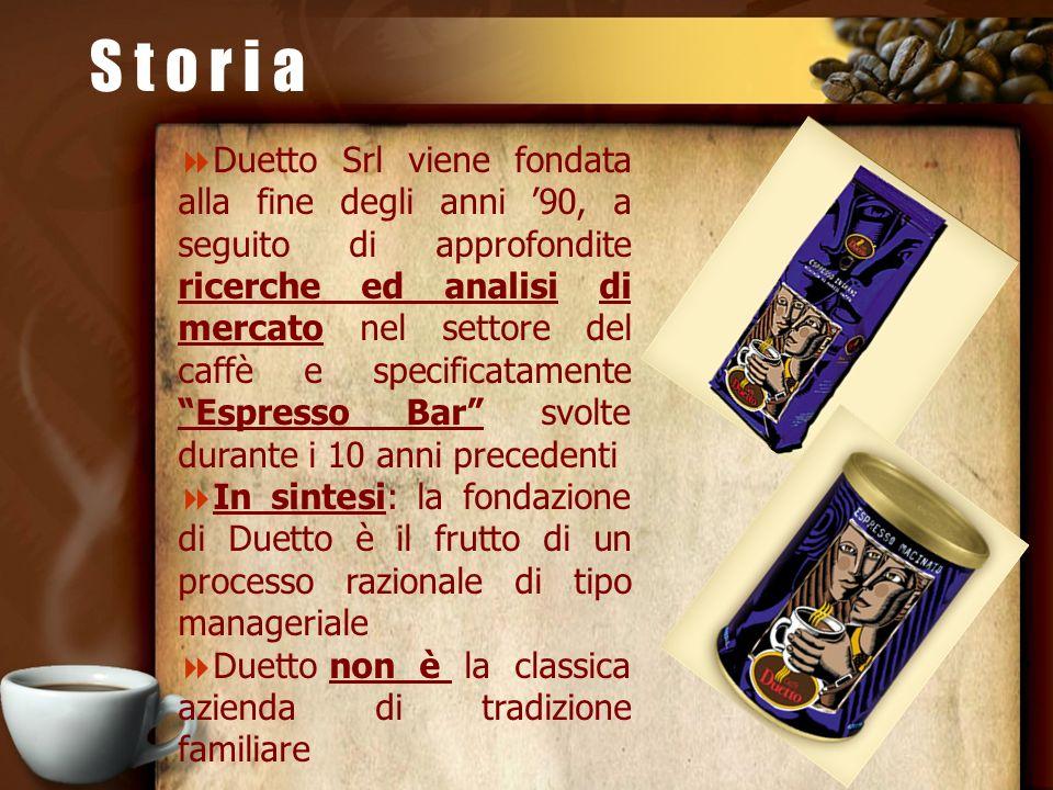 S t o r i a Duetto Srl viene fondata alla fine degli anni 90, a seguito di approfondite ricerche ed analisi di mercato nel settore del caffè e specifi