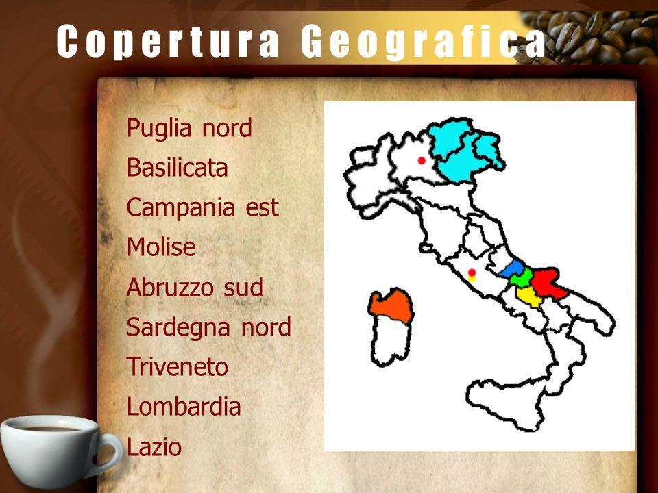 C o p e r t u r a G e o g r a f i c a Puglia nord Basilicata Campania est Molise Abruzzo sud Sardegna nord Triveneto Lombardia Lazio