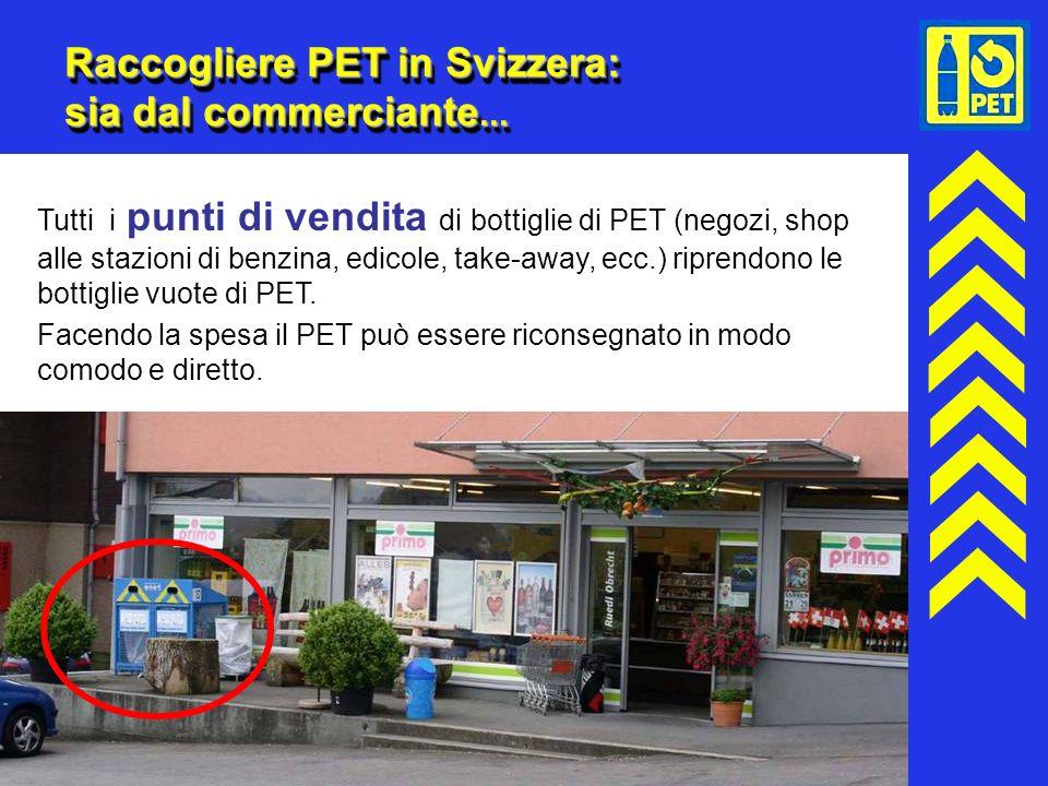 14 Raccogliere PET in Svizzera: sia dal commerciante... Tutti i punti di vendita di bottiglie di PET (negozi, shop alle stazioni di benzina, edicole,