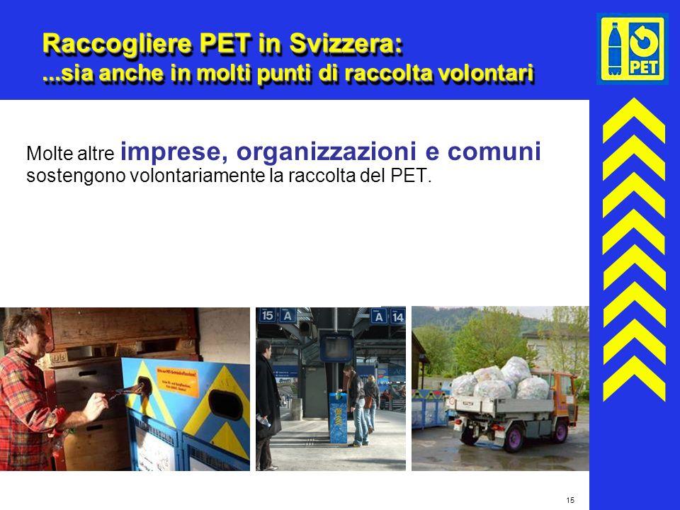 15 Raccogliere PET in Svizzera:...sia anche in molti punti di raccolta volontari Molte altre imprese, organizzazioni e comuni sostengono volontariamen