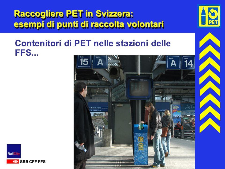16 Raccogliere PET in Svizzera: esempi di punti di raccolta volontari Contenitori di PET nelle stazioni delle FFS...