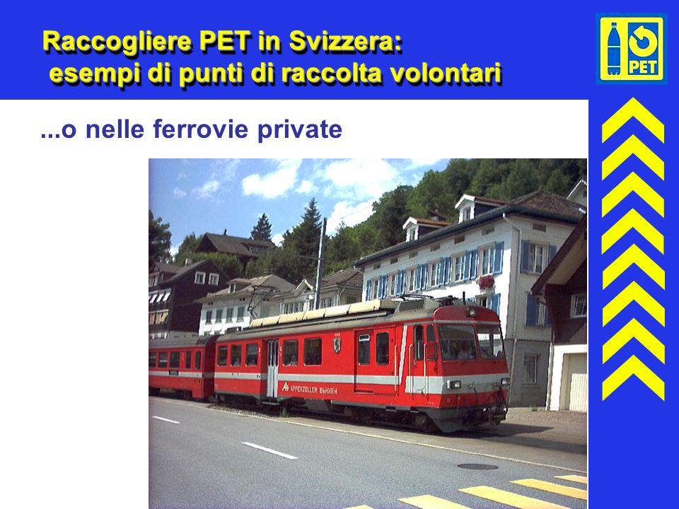 17 Raccogliere PET in Svizzera: esempi di punti di raccolta volontari...o nelle ferrovie private
