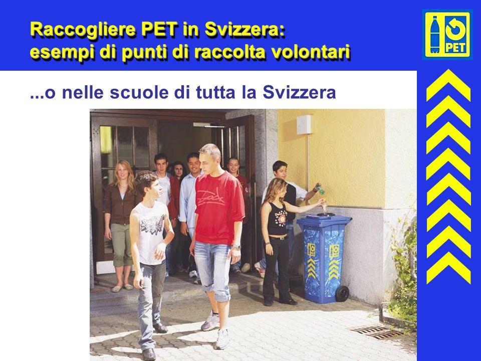 18 Raccogliere PET in Svizzera: esempi di punti di raccolta volontari...o nelle scuole di tutta la Svizzera