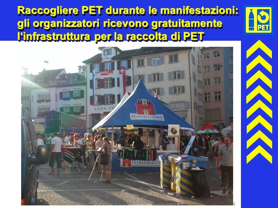 23 Raccogliere PET durante le manifestazioni: gli organizzatori ricevono gratuitamente linfrastruttura per la raccolta di PET