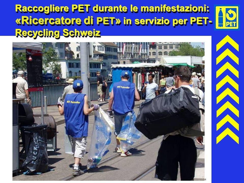 24 Raccogliere PET durante le manifestazioni: «Ricercatore di PET » in servizio per PET- Recycling Schweiz