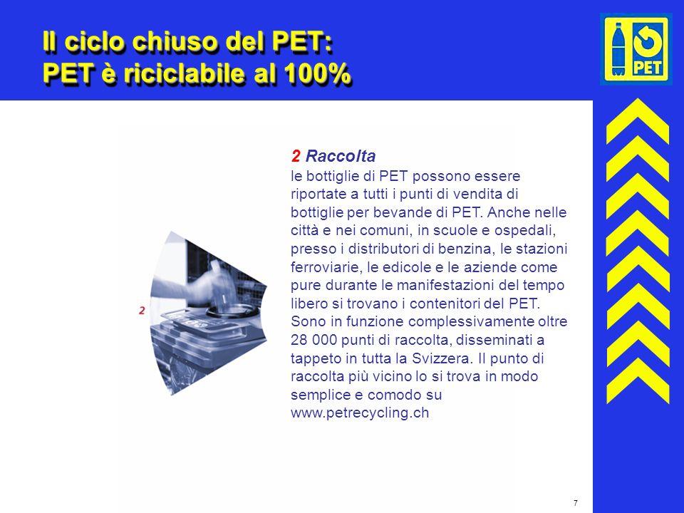 7 Il ciclo chiuso del PET: PET è riciclabile al 100% 2 Raccolta le bottiglie di PET possono essere riportate a tutti i punti di vendita di bottiglie p