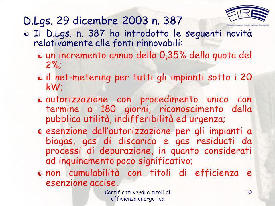 Certificati verdi e titoli di efficienza energetica 10 D.Lgs. 29 dicembre 2003 n. 387 Il D.Lgs. n. 387 ha introdotto le seguenti novità relativamente