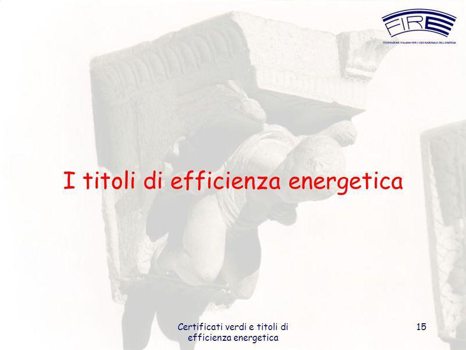 Certificati verdi e titoli di efficienza energetica 15 I titoli di efficienza energetica