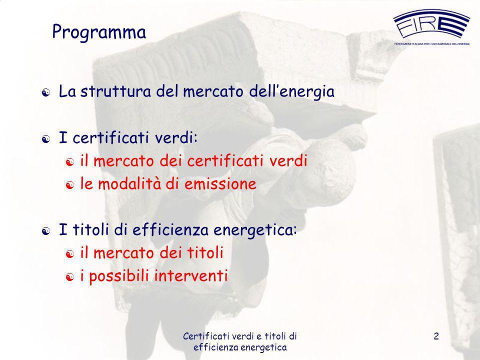Certificati verdi e titoli di efficienza energetica 2 Programma La struttura del mercato dellenergia I certificati verdi: il mercato dei certificati v