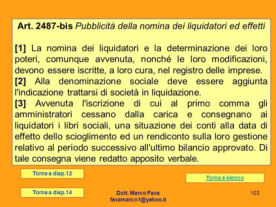 Dott. Marco Fava favamarco1@yahoo.it 103 Art. 2487-bis Pubblicità della nomina dei liquidatori ed effetti [1] La nomina dei liquidatori e la determina
