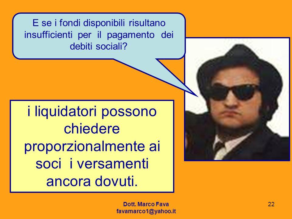 Dott. Marco Fava favamarco1@yahoo.it 22 E se i fondi disponibili risultano insufficienti per il pagamento dei debiti sociali? i liquidatori possono ch
