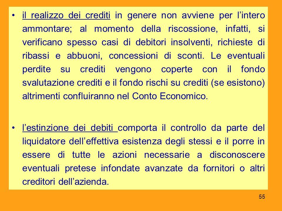 il realizzo dei crediti in genere non avviene per lintero ammontare; al momento della riscossione, infatti, si verificano spesso casi di debitori inso