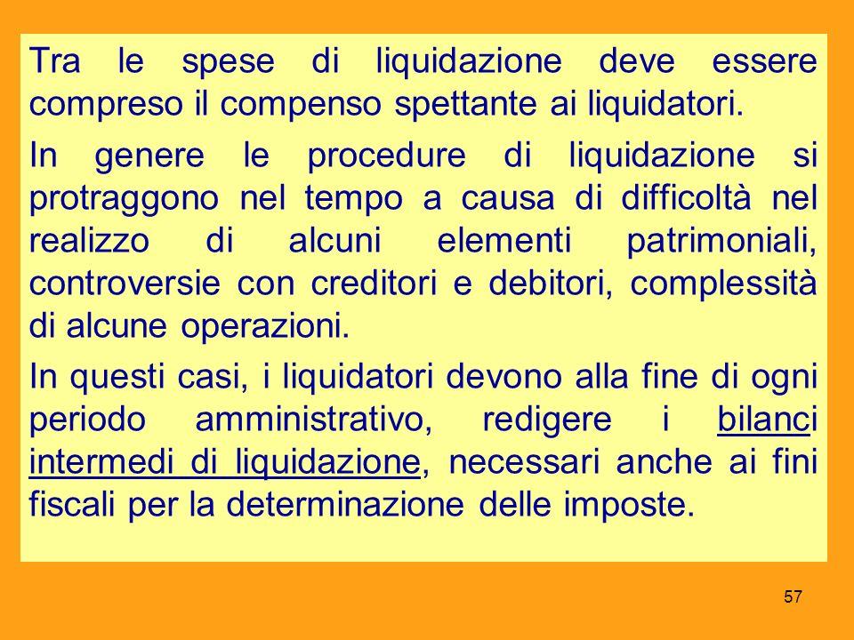 Tra le spese di liquidazione deve essere compreso il compenso spettante ai liquidatori. In genere le procedure di liquidazione si protraggono nel temp