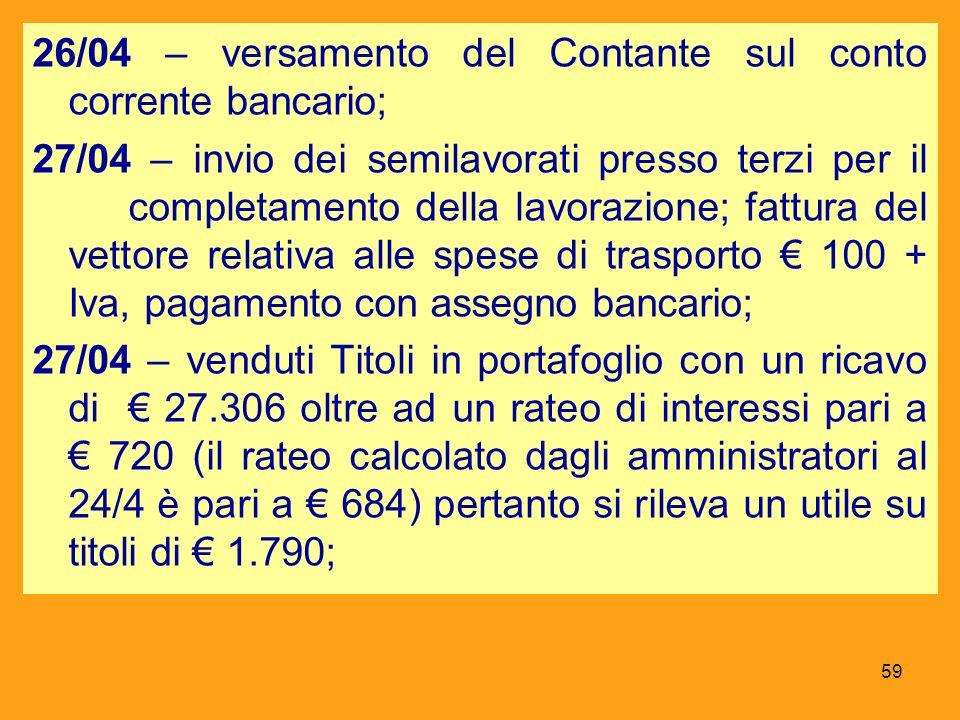 26/04 – versamento del Contante sul conto corrente bancario; 27/04 – invio dei semilavorati presso terzi per il completamento della lavorazione; fattu