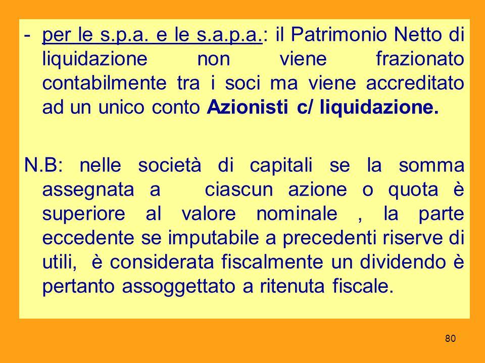 -per le s.p.a. e le s.a.p.a.: il Patrimonio Netto di liquidazione non viene frazionato contabilmente tra i soci ma viene accreditato ad un unico conto