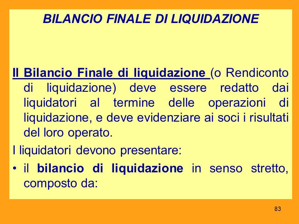 BILANCIO FINALE DI LIQUIDAZIONE Il Bilancio Finale di liquidazione (o Rendiconto di liquidazione) deve essere redatto dai liquidatori al termine delle