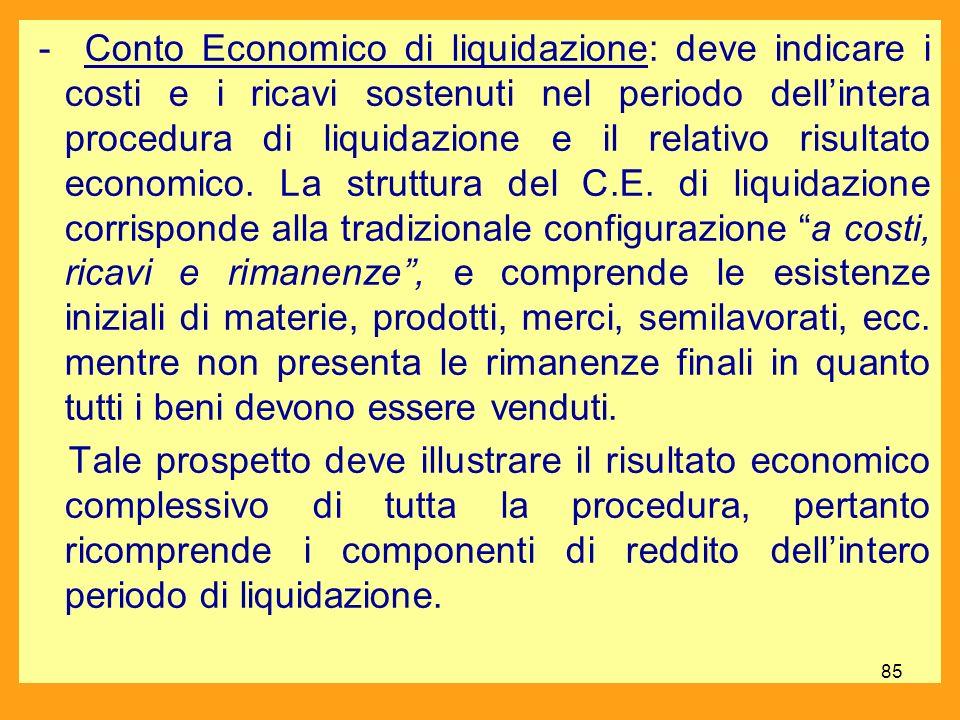 - Conto Economico di liquidazione: deve indicare i costi e i ricavi sostenuti nel periodo dellintera procedura di liquidazione e il relativo risultato