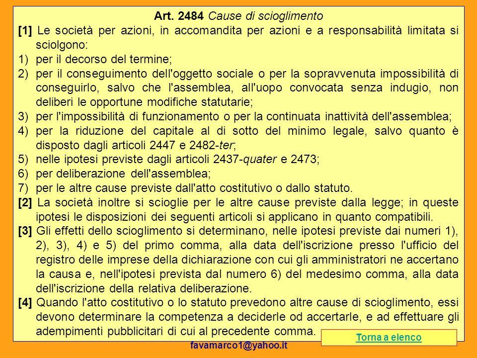 Dott. Marco Fava favamarco1@yahoo.it 99 Art. 2484 Cause di scioglimento [1] Le società per azioni, in accomandita per azioni e a responsabilità limita