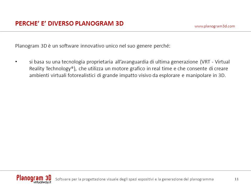 PERCHE E DIVERSO PLANOGRAM 3D Planogram 3D è un software innovativo unico nel suo genere perché: si basa su una tecnologia proprietaria allavanguardia