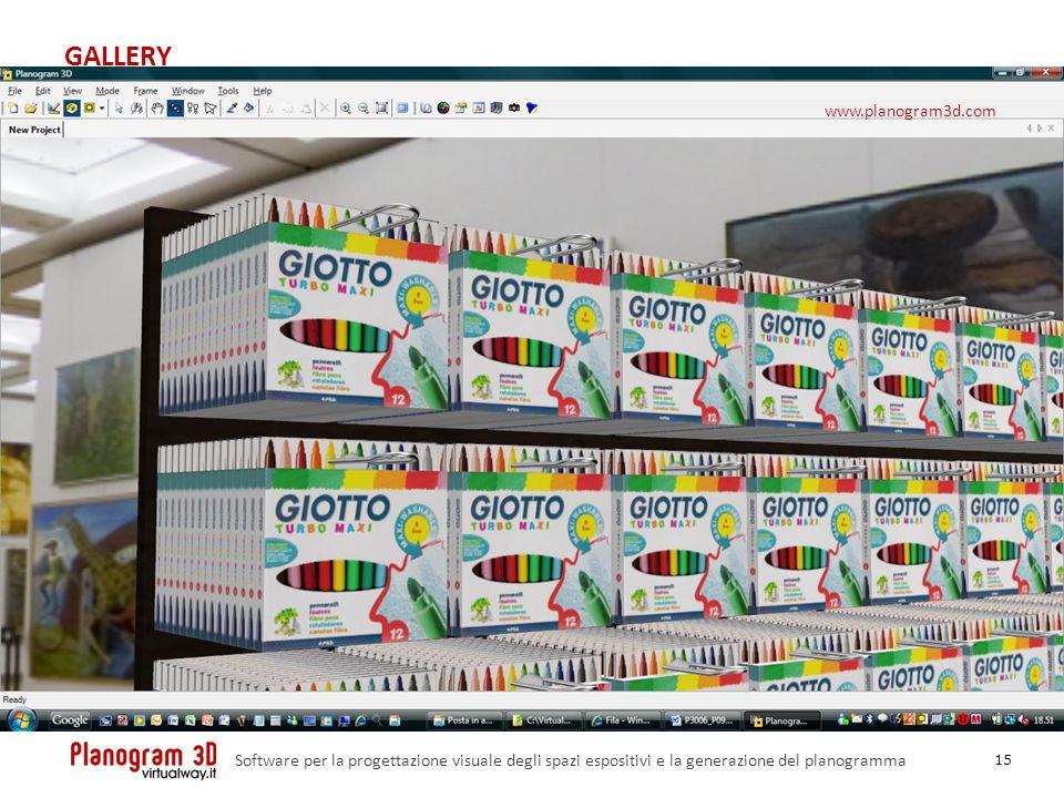 GALLERY 15 Software per la progettazione visuale degli spazi espositivi e la generazione del planogramma www.planogram3d.com