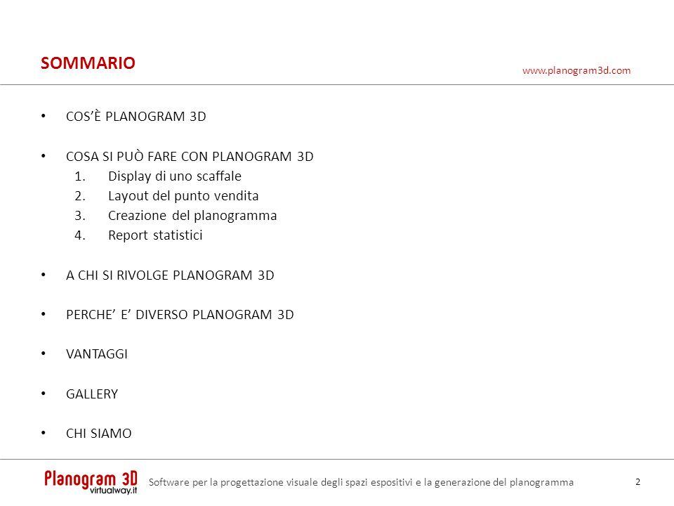 SOMMARIO COSÈ PLANOGRAM 3D COSA SI PUÒ FARE CON PLANOGRAM 3D 1.Display di uno scaffale 2.Layout del punto vendita 3.Creazione del planogramma 4.Report