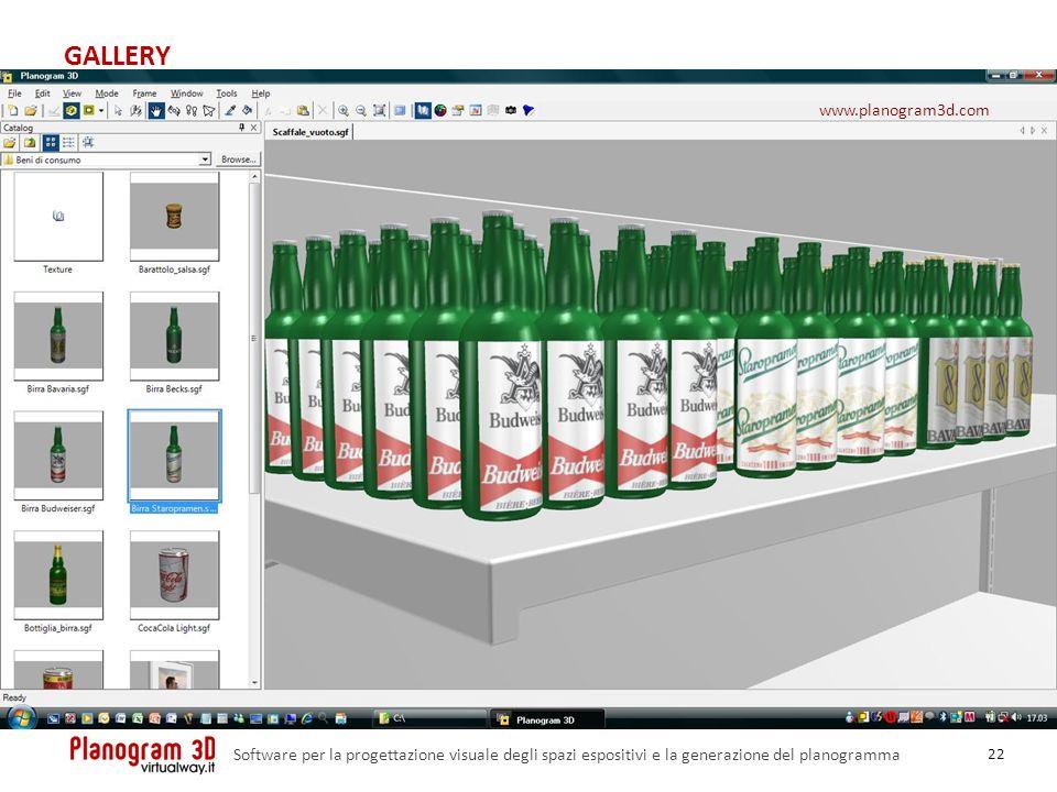 GALLERY 22 Software per la progettazione visuale degli spazi espositivi e la generazione del planogramma www.planogram3d.com
