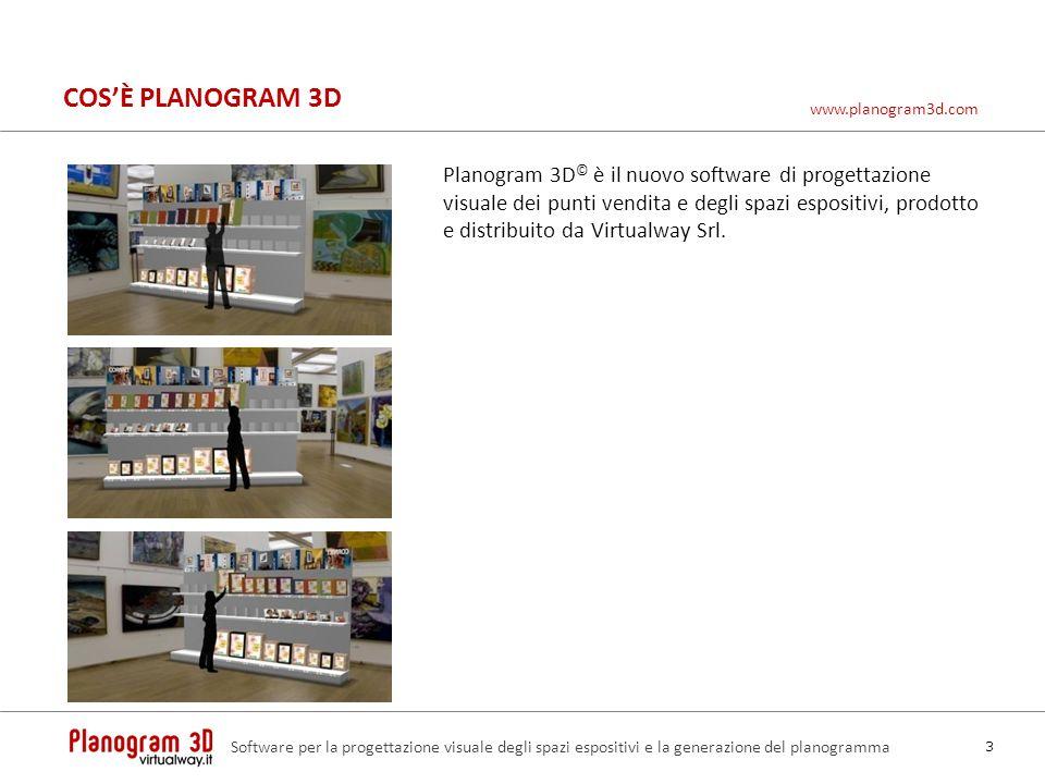 COSÈ PLANOGRAM 3D Planogram 3D © è il nuovo software di progettazione visuale dei punti vendita e degli spazi espositivi, prodotto e distribuito da Vi