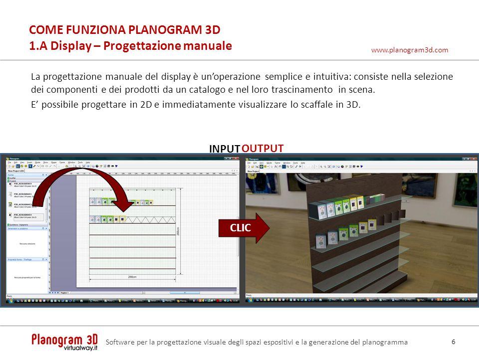 COME FUNZIONA PLANOGRAM 3D 1.A Display – Progettazione manuale La progettazione manuale del display è unoperazione semplice e intuitiva: consiste nell