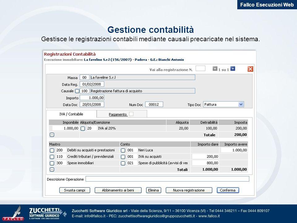 Gestione contabilità Gestisce le registrazioni contabili mediante causali precaricate nel sistema. Fallco Esecuzioni Web