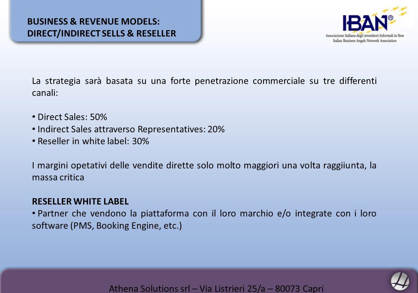 BUSINESS & REVENUE MODELS: DIRECT/INDIRECT SELLS & RESELLER La strategia sarà basata su una forte penetrazione commerciale su tre differenti canali: D