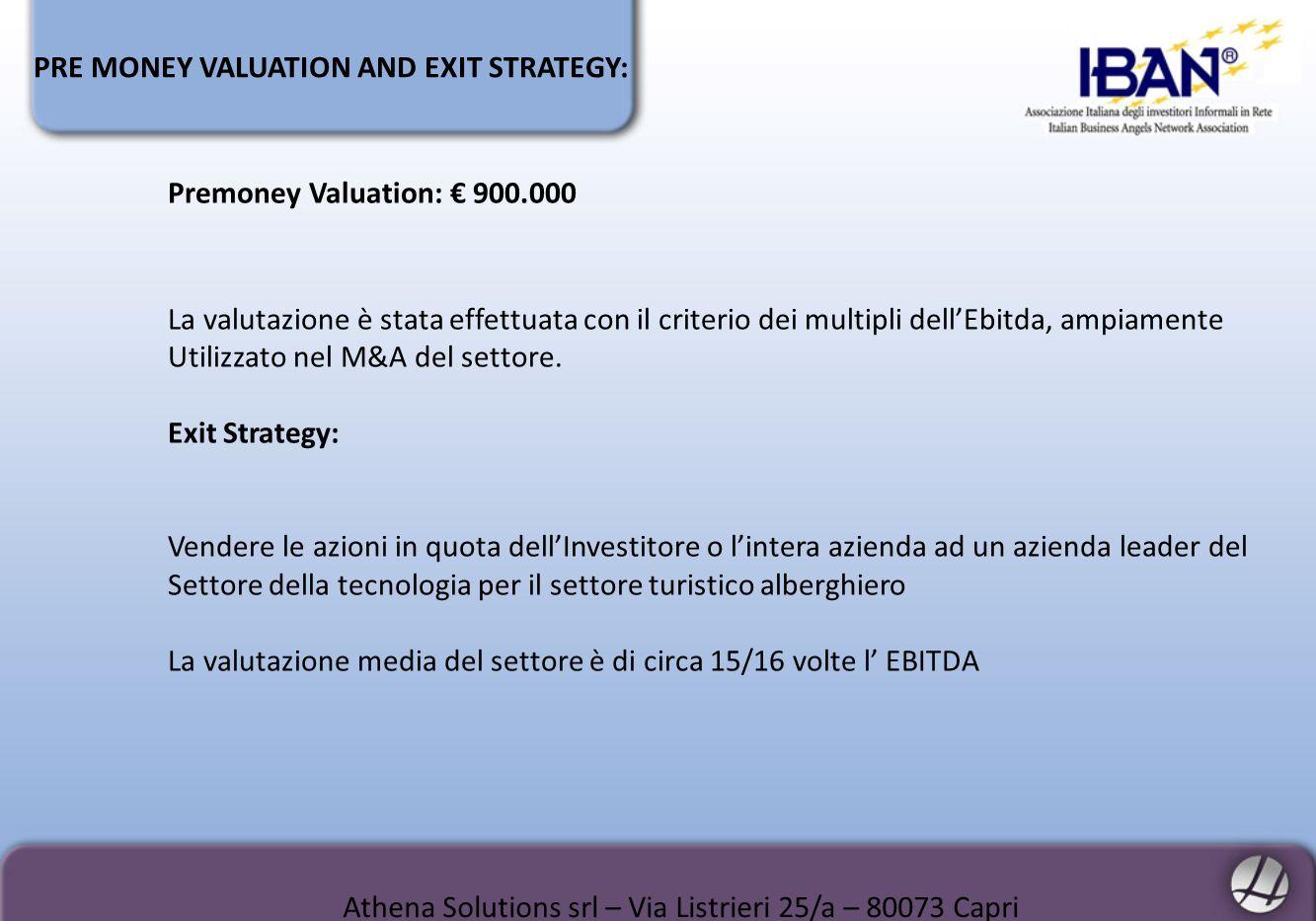 PRE MONEY VALUATION AND EXIT STRATEGY: Athena Solutions srl – Via Listrieri 25/a – 80073 Capri Premoney Valuation: 900.000 La valutazione è stata effe